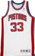 Basketball Collectibles:Uniforms, 1994-1995 Grant Hill Game Used Detroit Pistons Jersey....