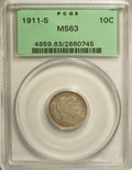 Barber Dimes: , 1911-S 10C MS63 PCGS. PCGS Population (33/134). NGC Census:(27/97). Mintage: 3,520,000. Numismedia Wsl. Price for NGC/PCGS...