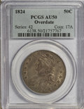 Bust Half Dollars: , 1824 50C Overdate AU50 PCGS. PCGS Population (7/64). NGC Census:(3/48). Numismedia Wsl. Price for NGC/PCGS coin in AU50: ...