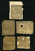 Colonial Notes:Mixed Colonies, Mixed Lot of Continental Currency and Colonial Notes. FiveExamples. About Good or Better.... (Total: 5 notes)
