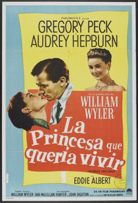 "Roman Holiday (Paramount, 1953). Argentinean Poster (29"" X 43""). Romance"