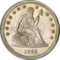 Seated Quarters, 1866 25C Motto MS64 PCGS....