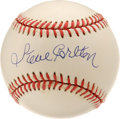 Autographs:Baseballs, Steve Carlton Single Signed Baseball. Rivaled in wins by only Spahnand fourth in all-time strikeouts, Steve Carlton has ea...