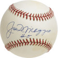 "Autographs:Baseballs, Joe DiMaggio ""#5"" Single Signed Baseball. Beautiful vintage creamtoned orb comes to us via the Yankee Clipper himself, who..."