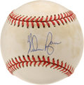 Autographs:Baseballs, Nolan Ryan Single Signed Baseball. Brilliant memento from one ofthe most stunning fastballers to ever take the mound. Str...