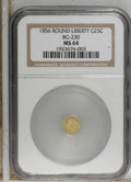 California Fractional Gold: , 1856 25C Liberty Round 25 Cents, BG-230, Low R.4, MS64 NGC. NGCCensus: (2/2). PCGS Population (17/3). (#10415)...
