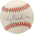 Autographs:Baseballs, Johnny Vander Meer Single Signed Baseball. Applied to an OAL(White) baseball nearly as flawless as the back-to-back no-hit...