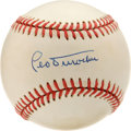 Autographs:Baseballs, Leo Durocher Single Signed Baseball. Durocher was a brash,abrasive, slick fielding, umpire baiting HOF'er who was inbaseba...
