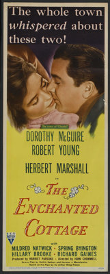"""The Enchanted Cottage (RKO, 1945). Insert (14"""" X 36""""). Romance. Starring Dorothy McGuire, Robert Young, Herber..."""