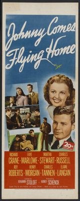 "Johnny Comes Flying Home (20th Century Fox, 1946). Insert (14"" X 36""). Drama. Starring Richard Crane, Faye Mar..."