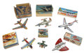 Antiques:Toys, Lot of Six Tin Litho Airplanes, all in Original Boxes.... (Total: 6Items)