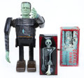 Antiques:Toys, Two Monster Tin Litho Toys, a Deebeeco #755-67 Coffin Bank and a Marx Remote Control Frankenstein.... (Total: 2 Items)