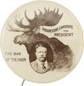 "Political:Pinback Buttons (1896-present), Theodore Roosevelt: An Awesome 2 1/8"" Version of This Wonderful1912 Bull Moose Design...."