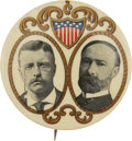 """Political:Pinback Buttons (1896-present), Roosevelt & Fairbanks: A Classic 1904 Jugate Design, Rare in This Large 1¾"""" Size...."""