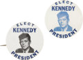 Political:Pinback Buttons (1896-present), John F. Kennedy: Two Color Variants of This Scarce Campaign Pinback.... (Total: 2 Items)