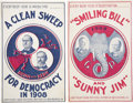 Political:Small Paper (1896-present), Taft & Sherman and Bryan & Kern: Two Fabulous 1908 Campaign Postcards. ... (Total: 2 Items)