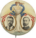"""Political:Pinback Buttons (1896-present), Roosevelt & Fairbanks: The Largest 2 1/8"""" Size of the Classic """"Miss Liberty"""" Jugate. ..."""