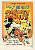 "Movie Posters:Animated, Mickey's Nightmare (United Artists, 1932). One Sheet (27"" X 41"").. ..."