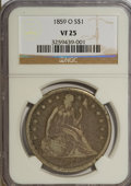 Seated Dollars: , 1859-O $1 VF25 NGC. NGC Census: (1/403). PCGS Population (4/611).Mintage: 360,000. Numismedia Wsl. Price for NGC/PCGS coin...