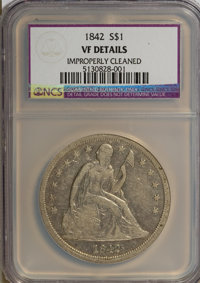 1842 $1 --Improperly Cleaned--NCS. VF Details. NGC Census: (9/359). PCGS Population (16/392). Mintage: 184,618. Numismed...