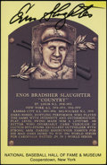 Autographs:Post Cards, Enos Slaughter Signed Hall Of Fame Plaque....