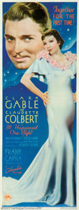 "Movie Posters:Comedy, It Happened One Night (Columbia, 1934). Insert (14"" X 36"") It sweptthe Oscars in the year of it's release, the first time f..."