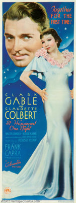 """It Happened One Night (Columbia, 1934). Insert (14"""" X 36"""") It swept the Oscars in the year of it's release, th..."""