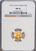 Commemorative Gold: , 1915-S G$1 Panama-Pacific Gold Dollar MS65 NGC. NGC Census:(698/515). PCGS Population (1144/770). Mintage: 15,000. Numisme...
