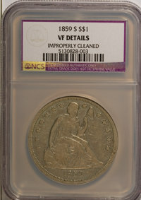 1859-S $1 --Improperly Cleaned--NCS. VF Details. NGC Census: (0/101). PCGS Population (11/135). Mintage: 20,000. Numisme...
