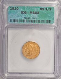 1910 $2 1/2 MS62 ICG. NGC Census: (2228/1707). PCGS Population (837/990). Mintage: 492,000. Numismedia Wsl. Price for NG...