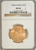 Indian Eagles: , 1908-D $10 Motto MS60 NGC. NGC Census: (22/264). PCGS Population(8/226). Mintage: 836,500. Numismedia Wsl. Price for NGC/P...