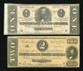 Confederate Notes:1864 Issues, T70 $2 1864,. and a T71 $1 1864.. ... (Total: 2 notes)