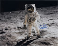 Autographs:Celebrities, Buzz Aldrin Large Color Moon Surface Photo Signed....