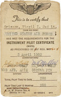 Explorers:Space Exploration, Gus Grissom 1952 Air Force Instrument Flight Certificate....