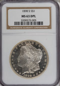 Morgan Dollars: , 1898-S $1 MS63 Deep Mirror Prooflike NGC. NGC Census: (16/18). PCGSPopulation (32/38). Numismedia Wsl. Price for NGC/PCGS...