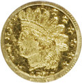 California Fractional Gold: , 1872/1 25C Indian Round 25 Cents, BG-870, R.3, MS64 PCGS. PCGSPopulation (71/16). NGC Census: (13/8). (#10731)...