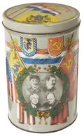Military & Patriotic:WWII, World War II: Large Commemorative Tin Canister....