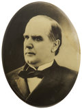 Political:Ferrotypes / Photo Badges (pre-1896), William McKinley: Large Oval Sepia Portrait Pin....