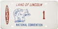 "Political:Miscellaneous Political, Illinois ""Land of Lincoln"" 1960 National Convention License Plate...."