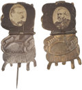 "Political:Ferrotypes / Photo Badges (pre-1896), Grover Cleveland and Benjamin Harrison ""Presidential Chair""Pinbacks.... (Total: 2 Items)"