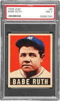 Baseball Cards:Singles (1940-1949), 1948 Leaf Babe Ruth #3 PSA NM 7....