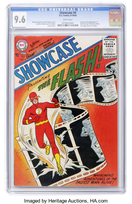 Showcase #4 The Flash (DC, 1956) CGC NM+ 9.6 White pages....