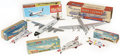 Antiques:Toys, Lot of Five Tin Litho Airplanes in the Original Boxes.... (Total: 5 Items)