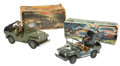 """Antiques:Toys, Battery Operated Nomura """"Radio Jeep"""" and K Toys """"Anti-Aircraft Jeep"""" in the Original Boxes.... (Total: 2 Items)"""