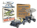 Antiques:Toys, Marx Air Force Jeep and Trailer and Ideal Naval Rescue Seaplane in the Original Boxes.... (Total: 2 Items)