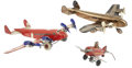 Antiques:Toys, Lot of Three Marx Vintage Tin Litho Airplanes.... (Total: 3 Items)