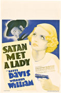 "Movie Posters:Mystery, Satan Met a Lady (Warner Brothers, 1936). Window Card (14"" X 22"")....."