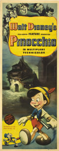 "Movie Posters:Animated, Pinocchio (RKO, 1940). Insert (14"" X 36"").. ..."