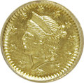 California Fractional Gold: , Undated 25C Liberty Round 25 Cents, BG-221, R.3, MS64 PCGS. PCGSPopulation (39/3). NGC Census: (4/1). (#10406)...