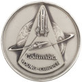Explorers:Space Exploration, Space Shuttle Columbia (STS-1) Flown Silver RobbinsMedallion Directly from the Collection of Mission Commander Jo...